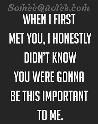 When i first met you, i honestly didn't know you were gonna be this important.