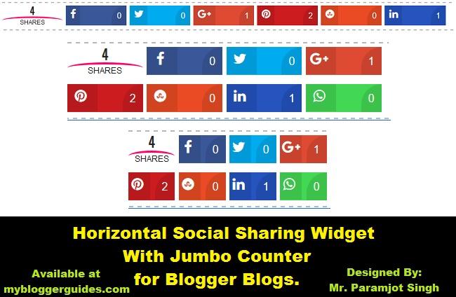 Jumbo Social Share Bar, Responsive Share Bar, Social Sharing Widget for Blogger, Horizontal Sharing Widget