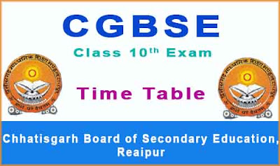 cgbse 10th time table 2018 download pdf at www.cgbse.net