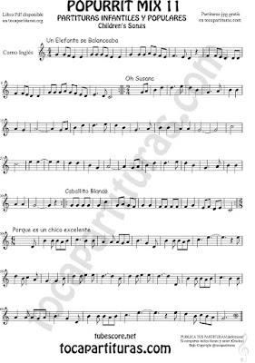 Corno Inglés Partitura de Un elefante se balanceaba, Oh Susana, Es un chico excelente y Caballito Blanco infantil Popurrí Mix 11 Sheet Music for English Horn Music Scores