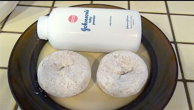 Baby powder covered donut prank