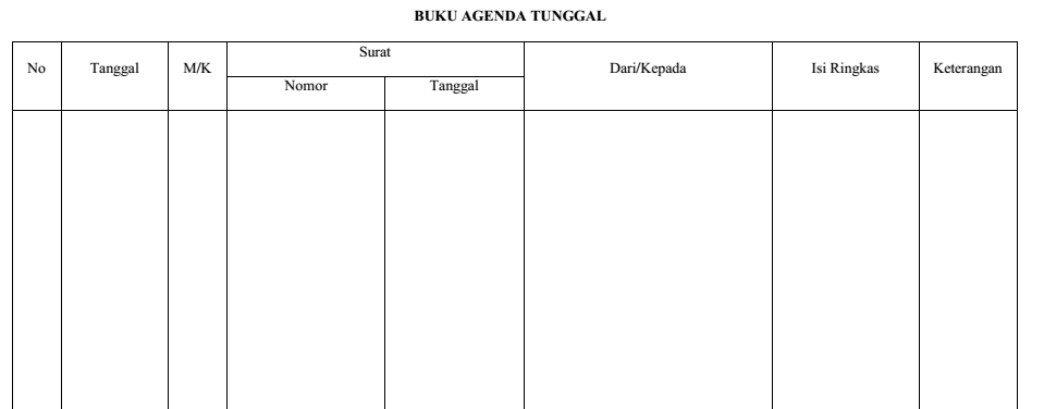 contoh buku agenda tunggal