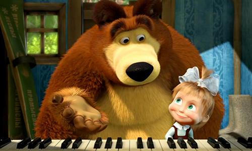 Maşa ile Koca Ayı Piyano Dersi