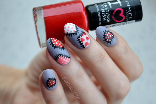 valentine's day nail art patchwork matte tutorial hearts