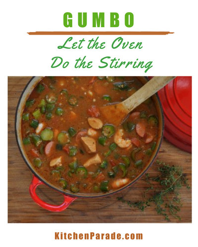 Gumbo ♥ KitchenParade.com, a classic Cajun gumbo except that the roux is cooked in the oven. Let the oven do the stirring!