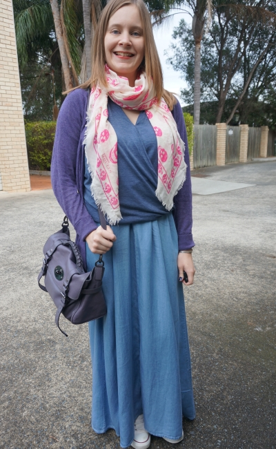 Blue chambray maxi skirt pink and purple accessories | Away From Blue