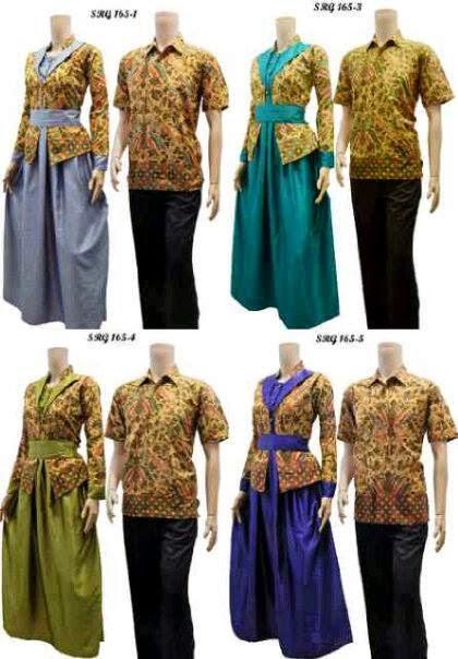 Model Baju Batik Seragam Pasangan Pria Wanita Terbaru 2015