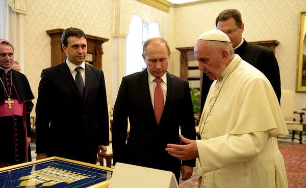 Image Attribute: Pope Francis met President Vladimir Putin and discussed the situation of Christians of the Middle East at the Kremlin. Can he influence the Russian president on defense matters? / Source: Kremlin