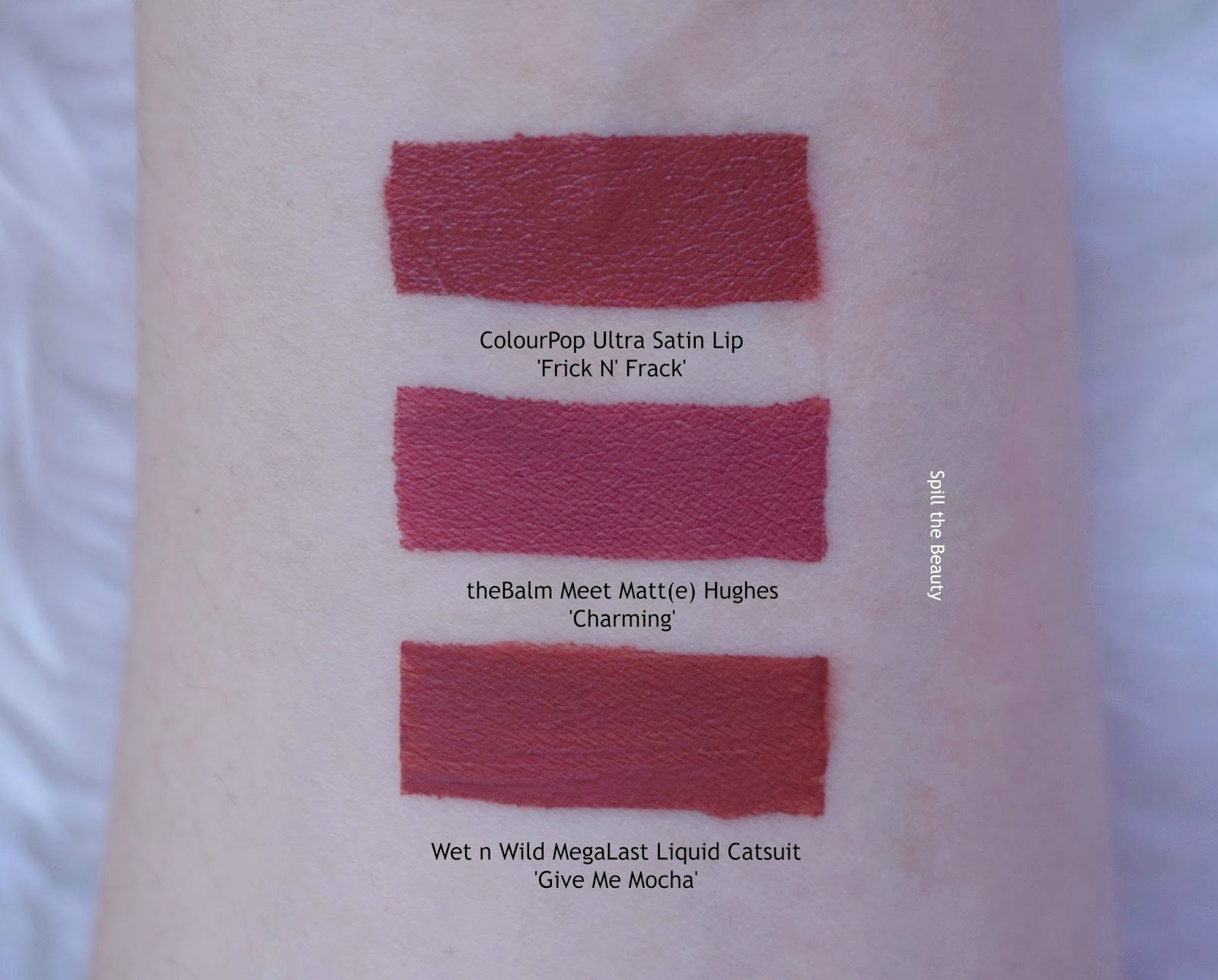 thebalm meet matte hughes long lasting liquid lipstick charming swatches comparison dupe colourpop wet n wild