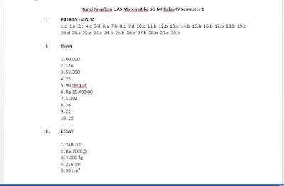Kunci Jawaban Soal UAS PAS Matematika Kelas 4 Semester 1, https://infoloker12.com/