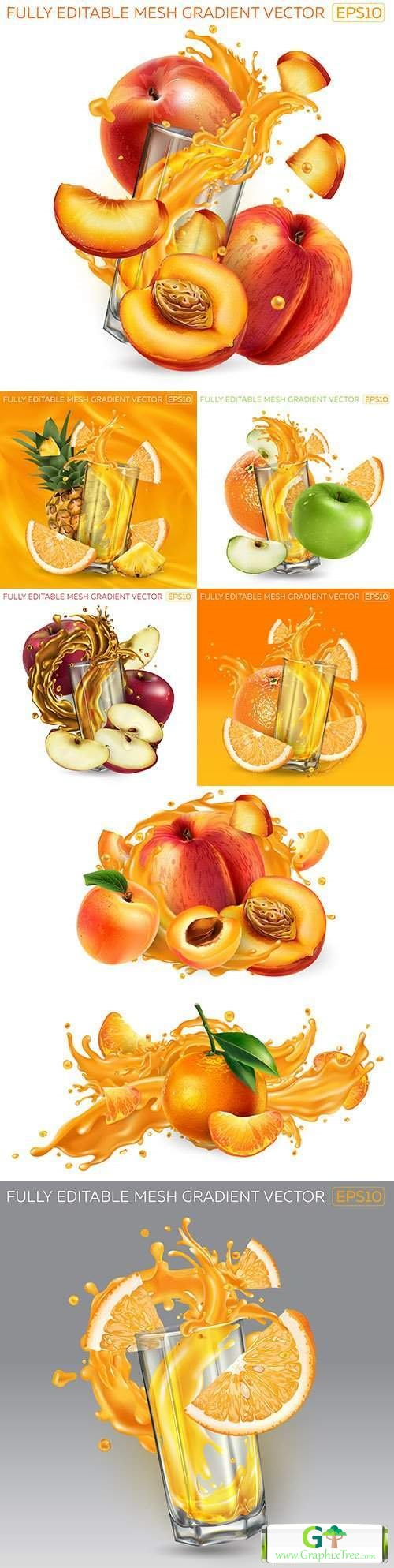 Whole fruit and bulls fruit juice realistic illustrations