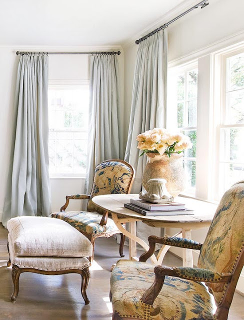 Tapestry chairs from Paris in traditional living room by Eleanor Cummings
