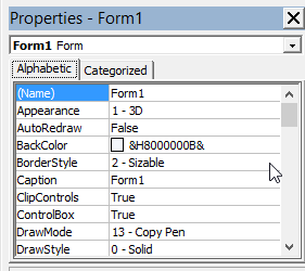 PROPERTI WINDOW VISUAL BASIC 6.0 DAN FUNGSINYA