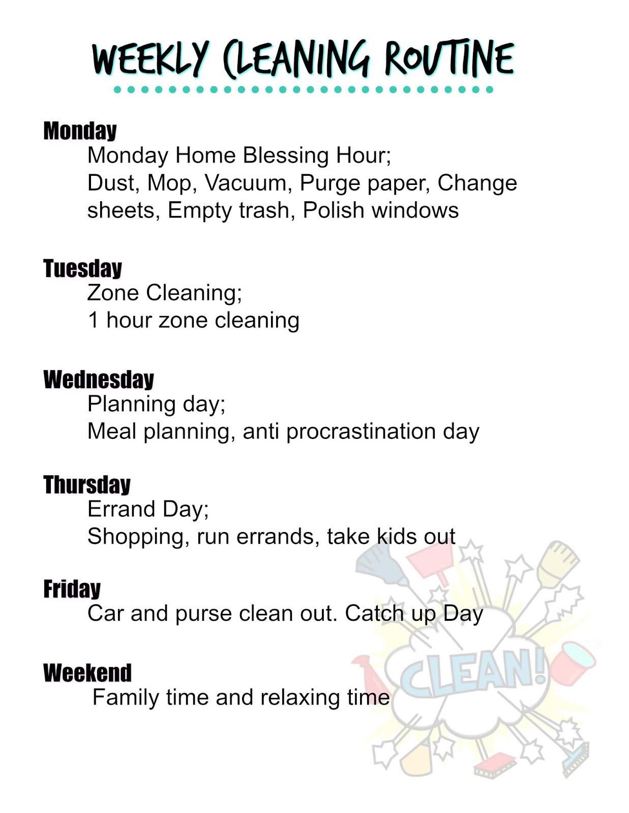 photo about Flylady Printable named Weekly Cleansing Schedule ~ Influenced as a result of Flylady Kristins