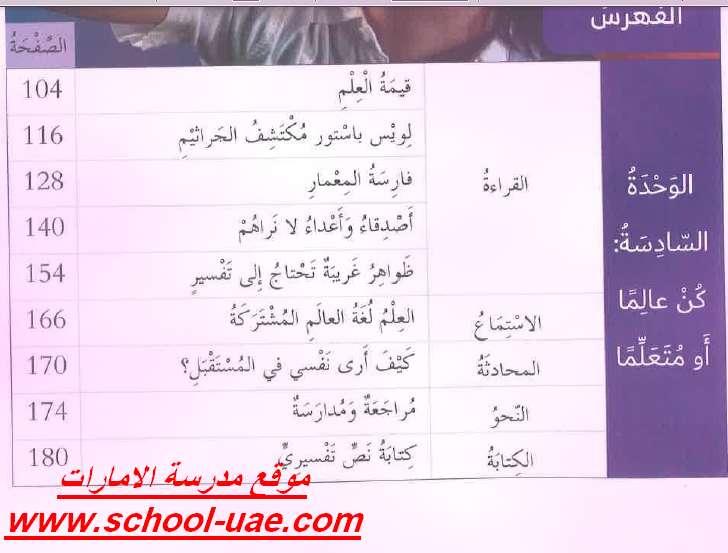 فهرس كتاب اللغة العربية للصف السادس الفصل الدراسى الثالث 2019 - مدرسة الامارات