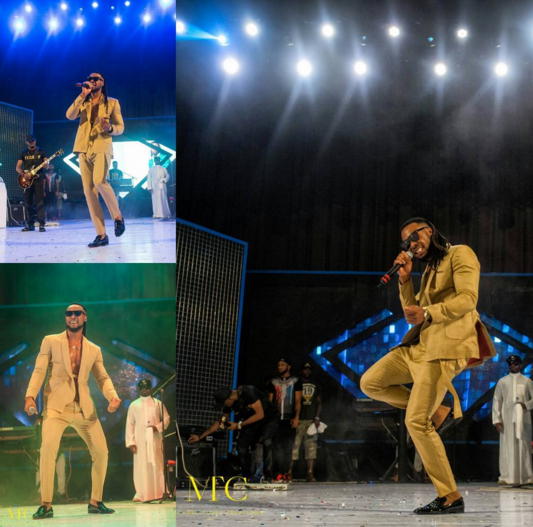 5 Photos: Flavour steps out in suit without a shirt