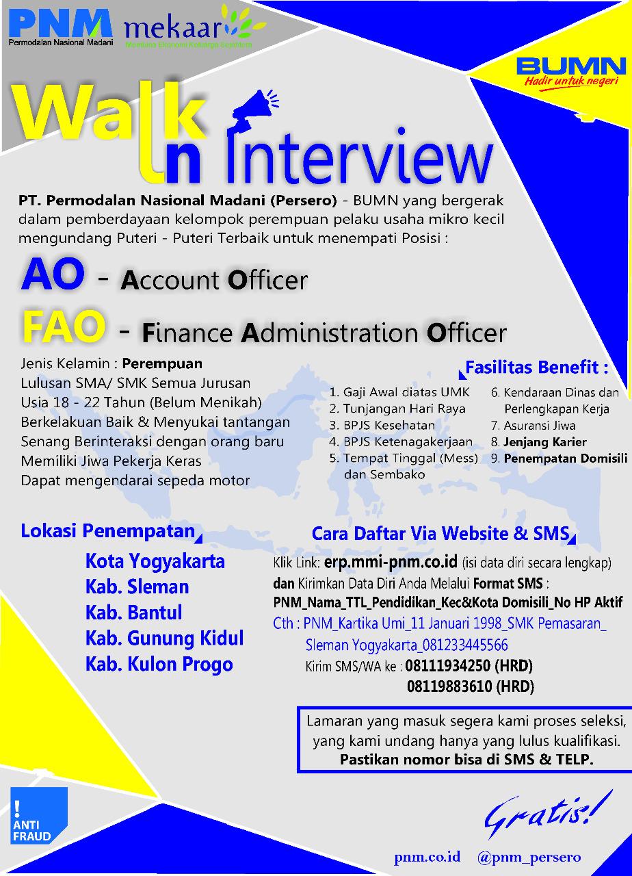 Lowongan Kerja Bumn Di Yogyakarta Account Officer Finance Administration Officer Pt Permodalan Nasional Madani Portal Info Lowongan Kerja Jogja Yogyakarta 2021