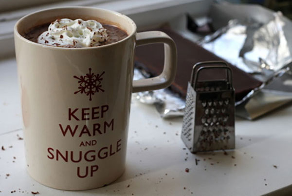 Keep Warm and Snuggle Up mug, chocolate shavings and miniature cheese grater