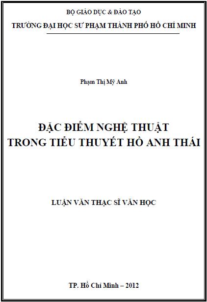 Đặc điểm nghệ thuật trong tiểu thuyết Hồ Anh Thái