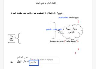 الشكل العام  لبرنامج الجافا  Generalform of Java program r