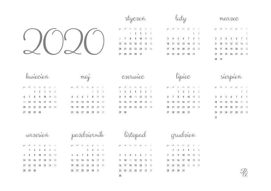 kalendarz 2020 szary