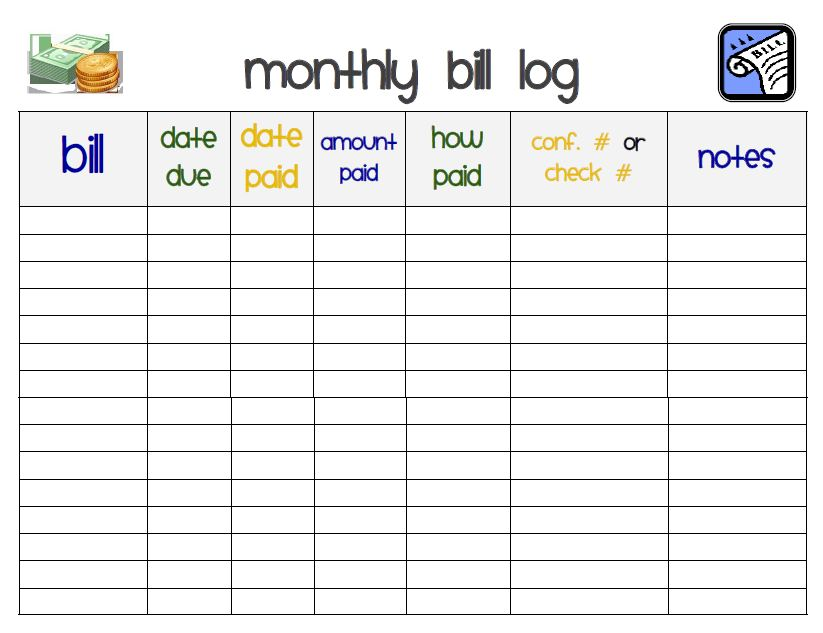 Bright image inside monthly bill tracker printable