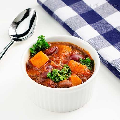 Roast Squash and Sweet Potato Chili with Kale