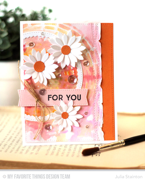Floral For You Card by Julia Stainton featuring Gift Tag Greetings stamp set, the Upsy-Daisy, Homespun Stitch Lines, Stitched Circle Scallop Frames, Blueprints 13, and Blueprints 20 Die-namics, and the Concentric Circle Grid stencil #mftstamps