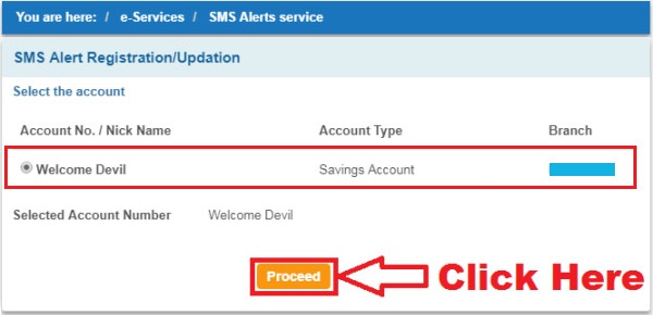 how to activate sms alert in sbi through net banking
