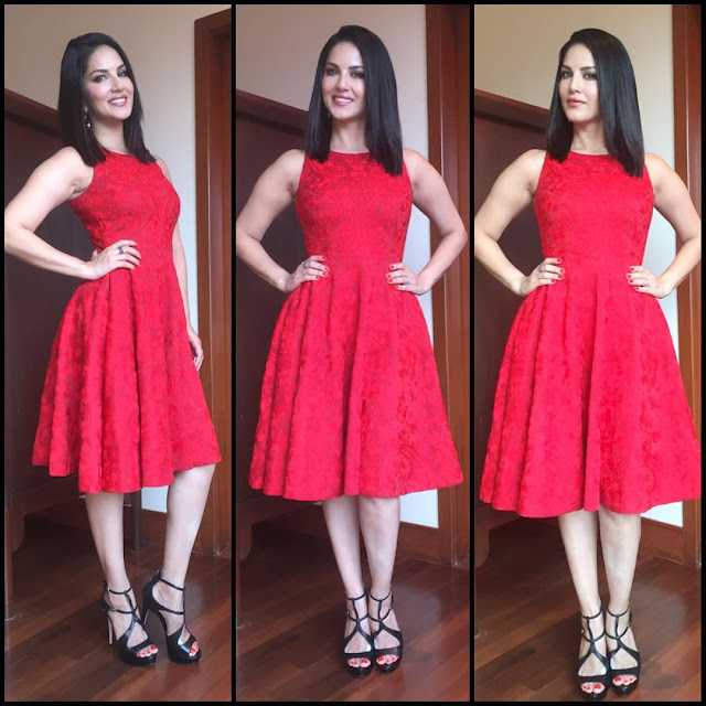 sunny-leone-red-dress