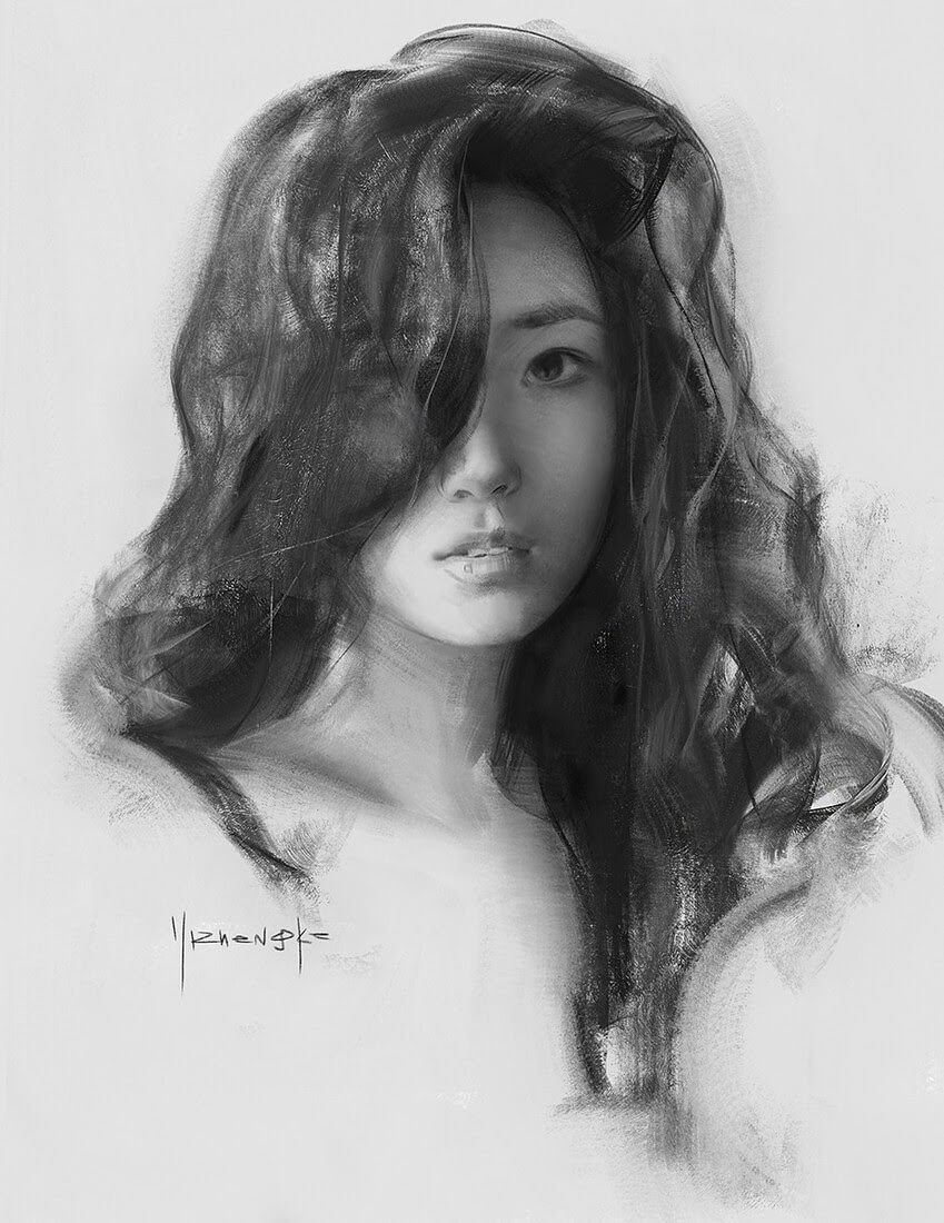 01-Yizheng-Ke-Charcoal-Portrait-Drawing-in-Different-Poses-www-designstack-co