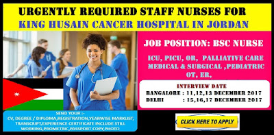 Urgently Required Staff Nurses for King Husain​ Cancer hospital in Jordan