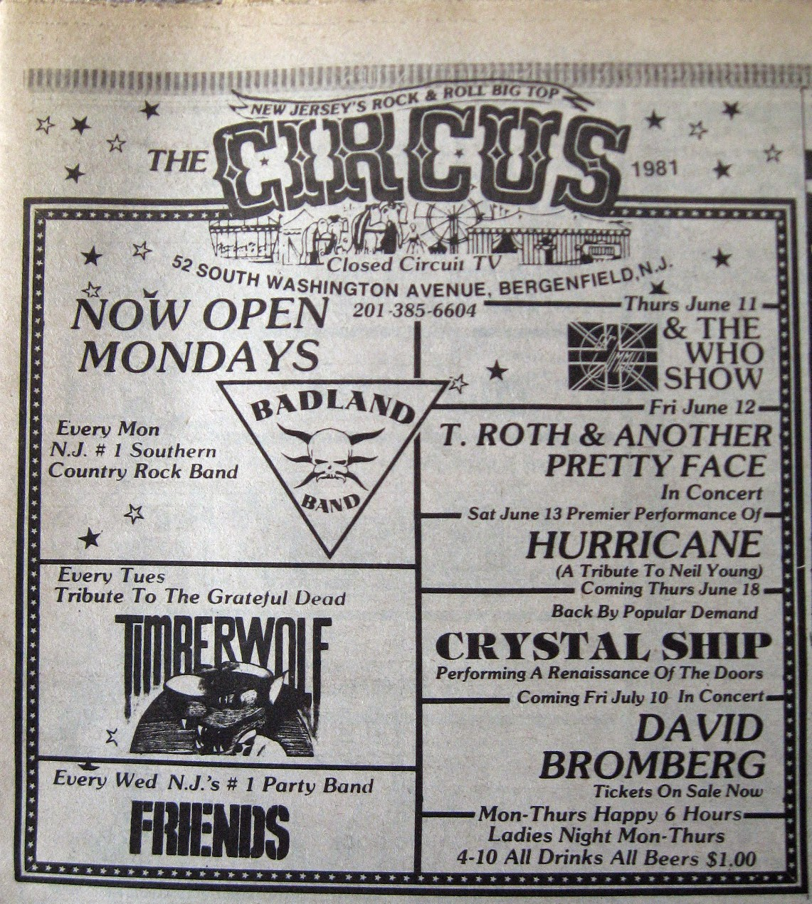 The Circus band line up 1981