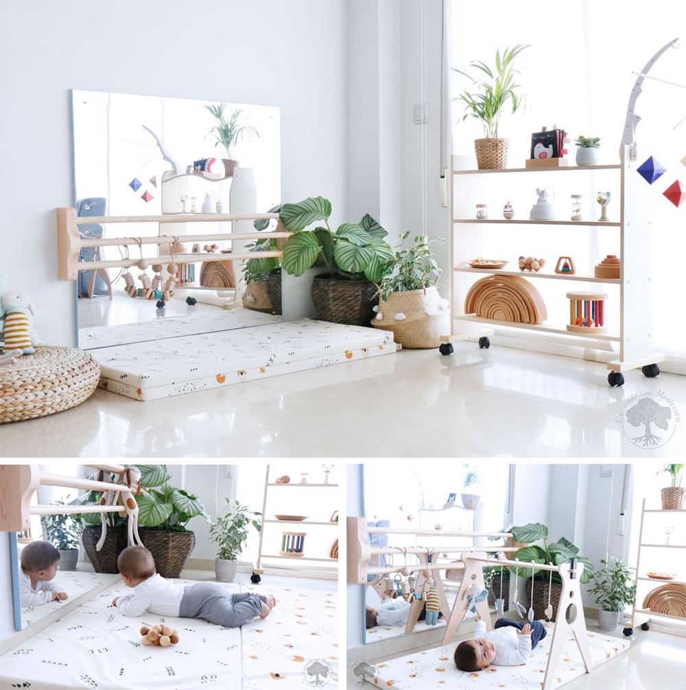 espejo para decorar habitación infantil montessori con barra y colchoneta para bebes