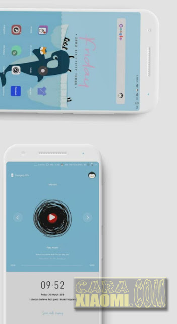 MIUI Themes Blue Pinguins Material Mtz For Xiaomi Redmi V9 Theme