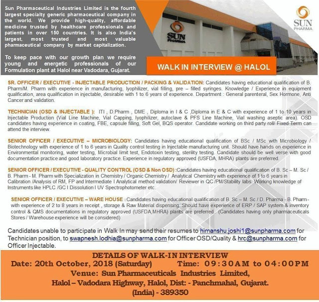Sun Pharmaceuticals Walk-In Interview Multiple Vacancies  B.Pharm, M.Pharm, D.Pharm, B.Sc, M.Sc, Diploma, ITI at 20 October