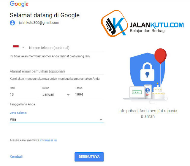 form ferifikasi bikin akun google