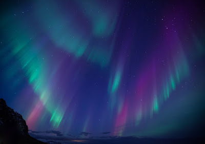 Streaks of purple, pink and green in Iceland's Northern Lights