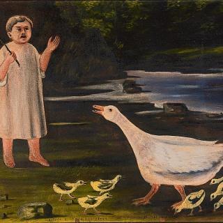 Нико Пиросмани. Девочка и гусыня с гусятами. 1917.