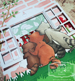 "Birthdaycard with Racoons from Art Impressions ""Any Cake"" Set, some die cutting, Copic coloring, Distress Inks and Lawn Fawn stamps inside."
