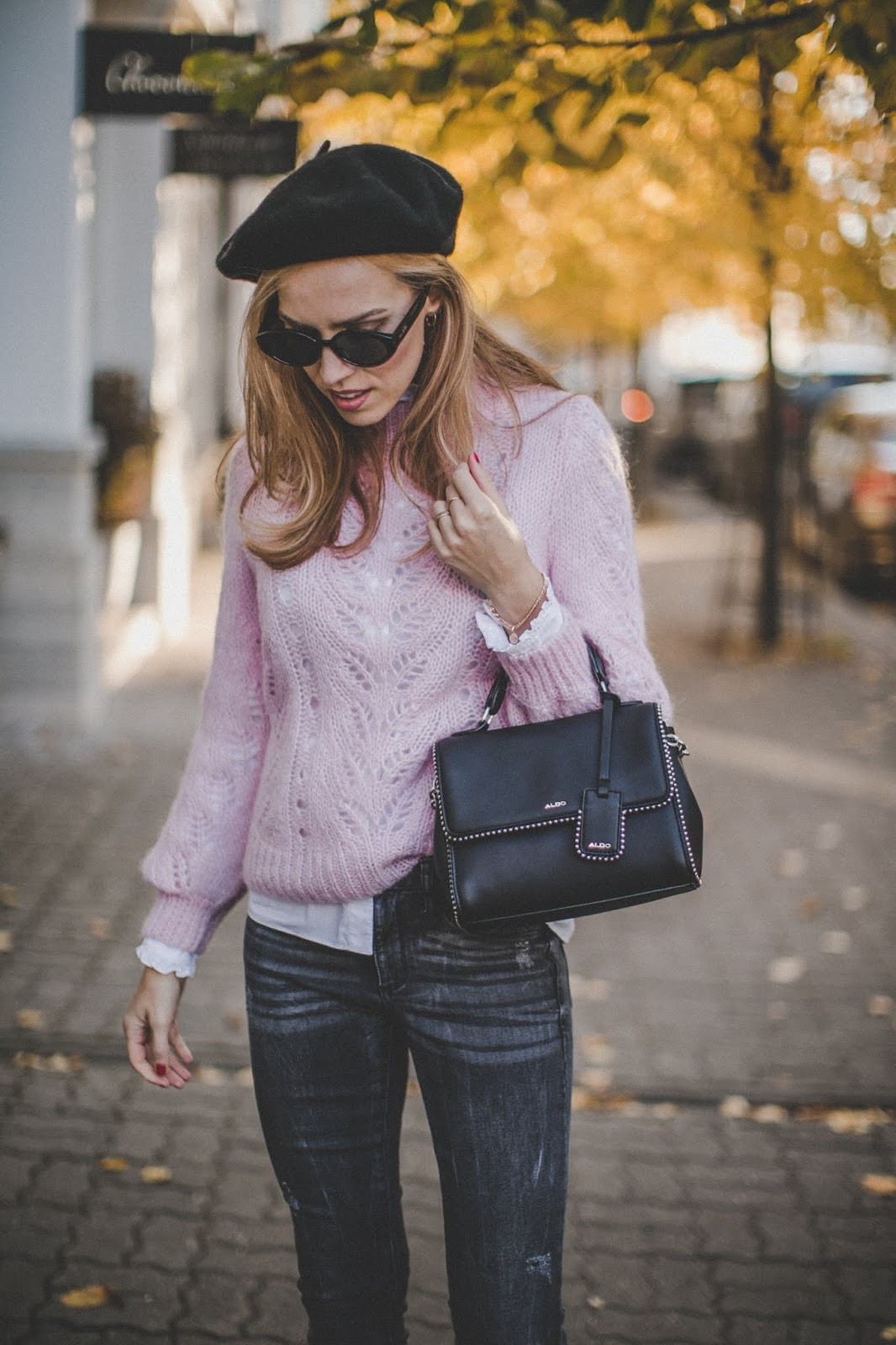 beret hat knit jumper fall outfit street style