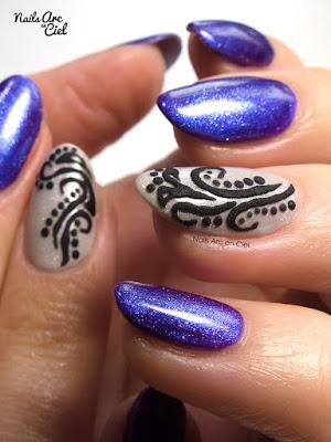 Nail Art - Arabesques relief effet sucre en gel et résine par Nails Arc en Ciel