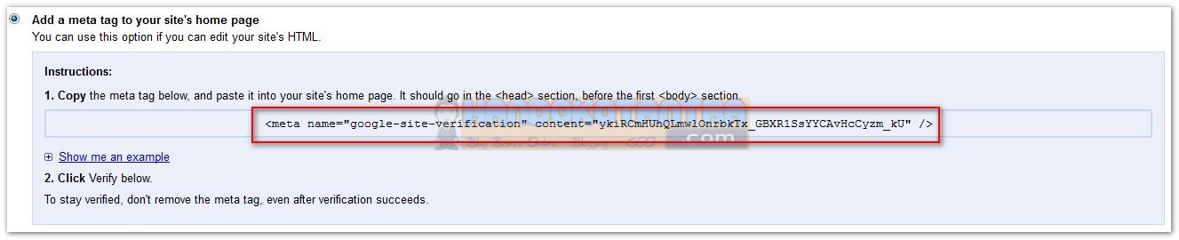 Verifikasi menggunakan meta tag