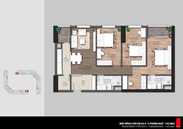 Thiết kế căn hộ B2.3 - 102,8m2 chung cư The Emerald