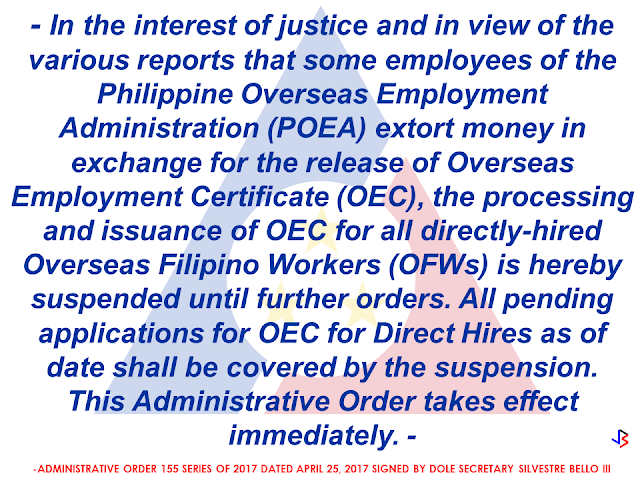 """All first-time documented or registered overseas Filipino workers (OFWs) planning or scheduled to go to the Philippines and would return to the same employers are still requested to secure the mandatory overseas employment certificate (OEC),"" Labour Attache for Dubai and the Northern Emirates Felicitas Q. Bay said to clear the confusion brought about by the Administrative 155 recently issued by the Department of Labor and Employment.   The application for OEC exemption for registered OFWs going to the Philippines and who would be reporting back to the same employers still remains as is.  http://www.jbsolis.com/2017/04/dole-suspends-processing-and-issuance-of-oec  Copies of the AO had been posted and shared many times over on the social media, particularly over Social media.Numerous comments have shown confusion to the part of the OFWs.   At the  press conference with Consul General Paul Raymund Cortes at the Philippine Consulate General, Bay shared that as a consequence, the Philippine Overseas Labour Office-Dubai received an avalanche of all sorts of queries on their email, whether or not the OEC is necessary to be applied for by OFWs from Dubai, Sharjah, Ajman, Umm Al Quwain, Ras Al Khaimah and Fujairah scheduled for a trip back home.   Bay clarified first that the AO was decided upon for the protection of every directly-hired OFW.  Since Bello had been tipped about some alleged corrupt practices of POEA employees with regard to the issuance of OEC to the direct hires, this measure has been made to prevent the OFWs from being victimized by such fraudulent schemes. Source: Gulf Today RECOMMENDED: TAGALOG POST: QUESTIONS and ANSWERS About OFW DIRECT HIRE and OEC http://www.jbsolis.com/2017/04/dole-suspends-processing-and-issuance-of-oec  DOLE SEC BELLO Suspends Processing and Issuance of OEC to all Direct-Hired OFWs   ©2017 THOUGHTSKOTO www.jbsolis.com SEARCH JBSOLIS"