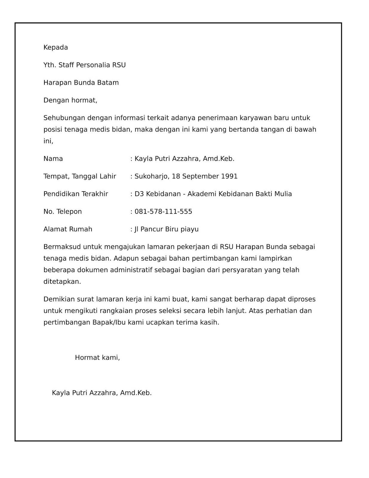 Contoh surat lamaran kerja di Rumah Sakit sebagai bidan