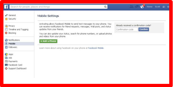 Facebook Setting for Mobile