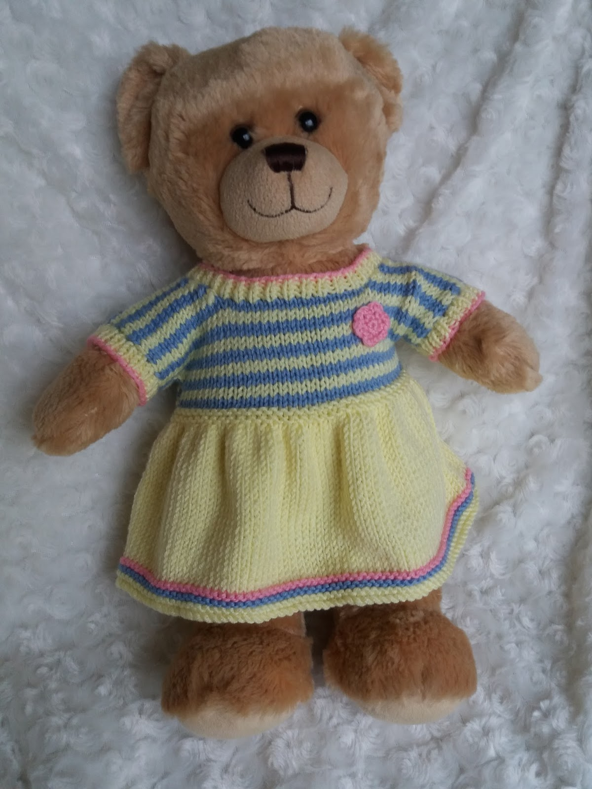 Linmary Knits: teddy bear striped dresses
