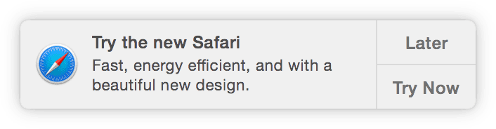 OS X try Safari promotional notification
