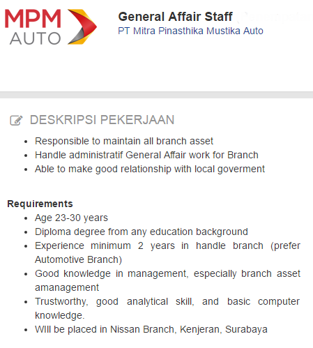 Info Lowongan Kerja Kabupaten Bangkalan Terbaru 2020